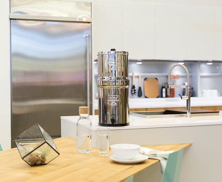 A Big Berkey Sitting On A Kitchen Countertop Berkey Water Filter Berkey Water Berkey