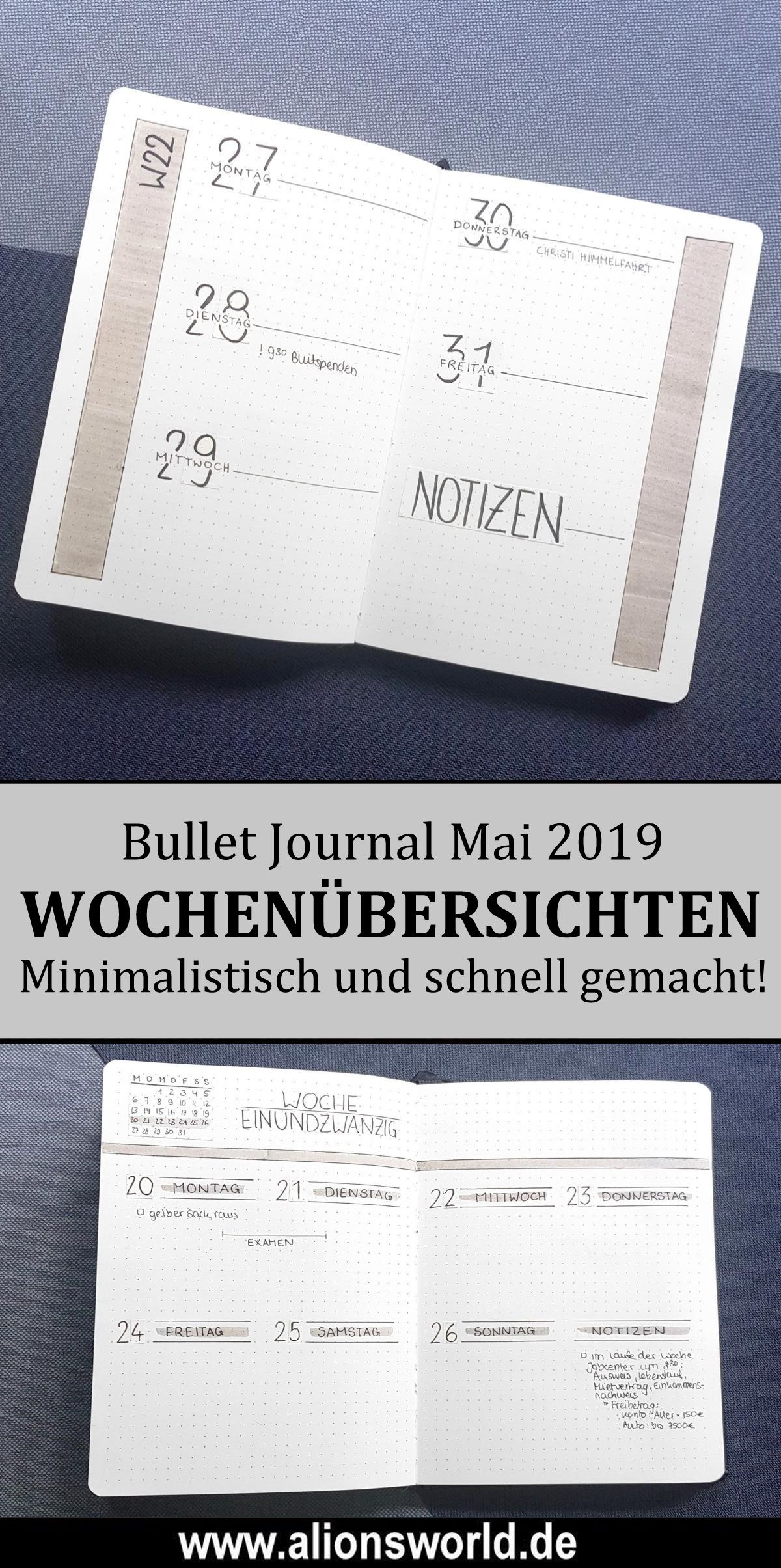 Minimalistisches Bullet Journal Mai 2019 - Weekly Spreads