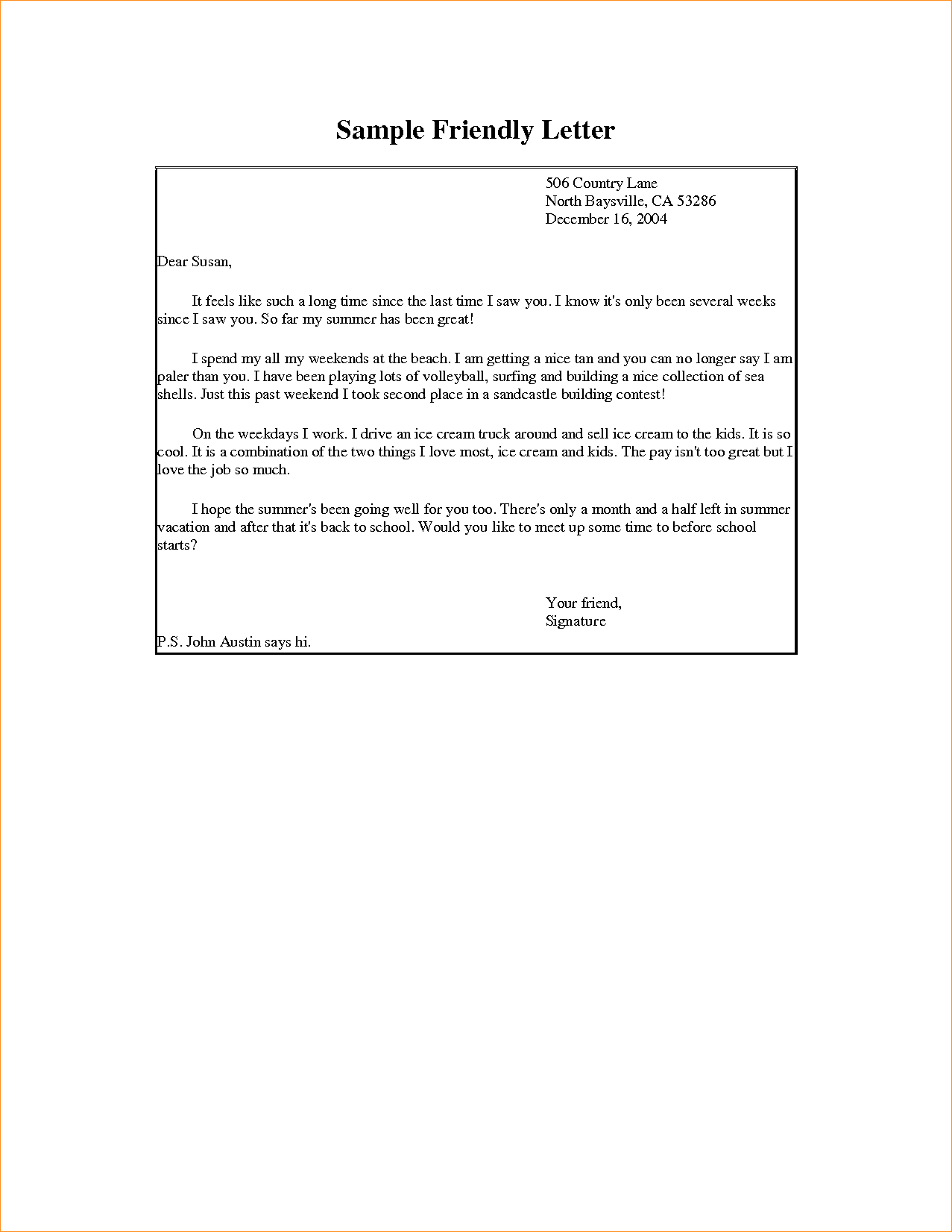 Friendly Letter Format Business Proposal Templated Kids  Home