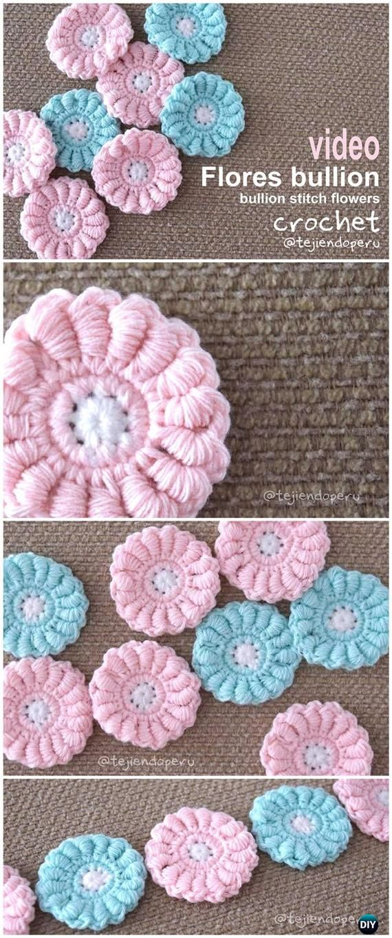 How to Crochet Bullion Stitch Flower Free Pattern Video Instruction ...