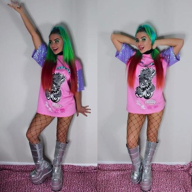 218f5698b28 Platform Boots · Colorful Hair · Festival Outfits · Kandi · Get these  killerrrr bootz!! http   www.dollskill.com