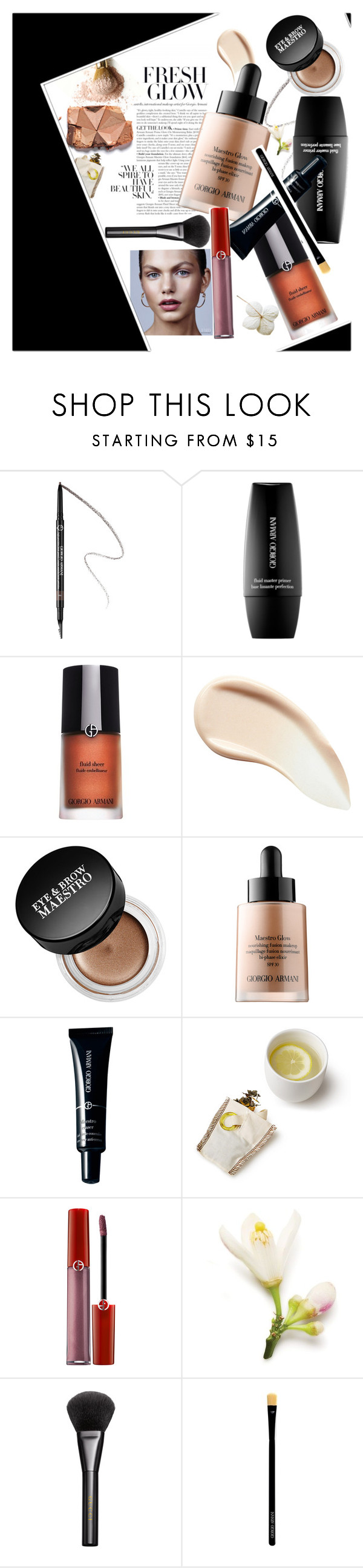 """""""FRESH GLOW"""" by hopelovesfashion ❤ liked on Polyvore featuring beauty, Giorgio Armani, Burberry, Armani Beauty and Gucci"""