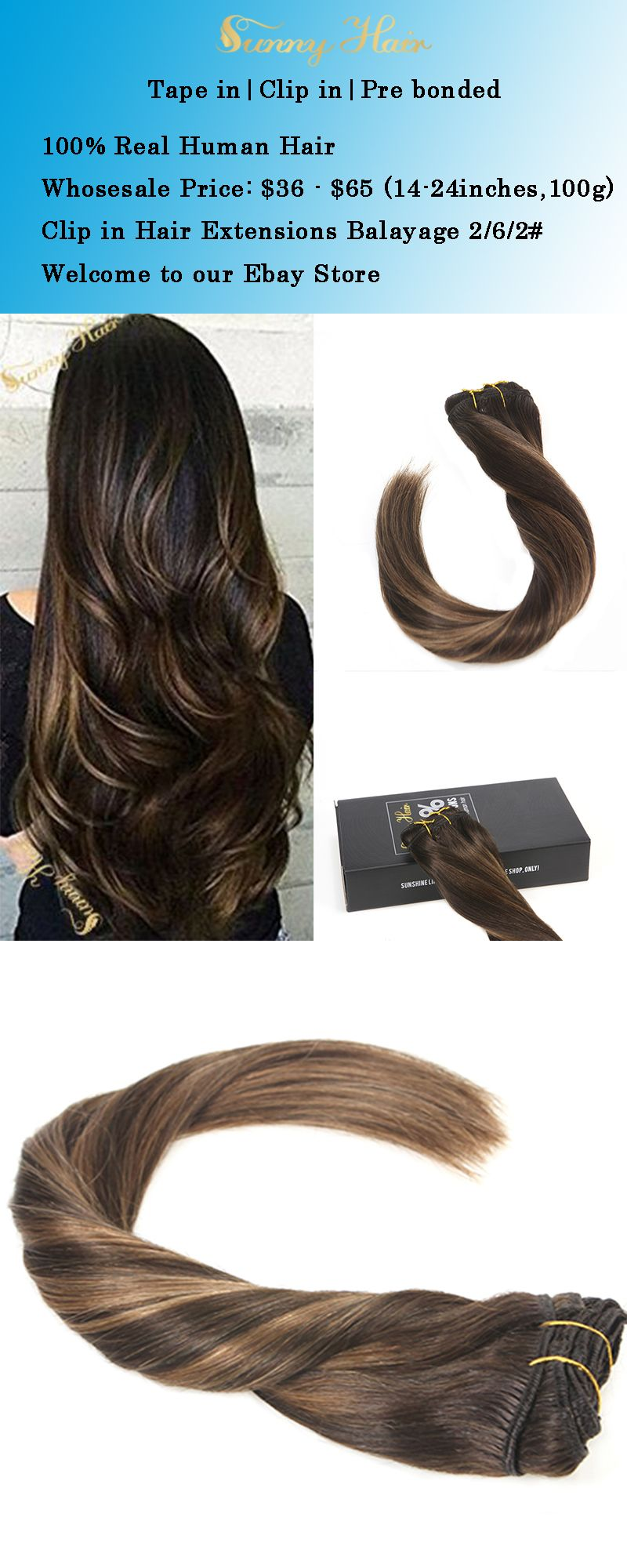 Balayage Ombre Highlighted Brown Remy Clip In Human Hair Extensions