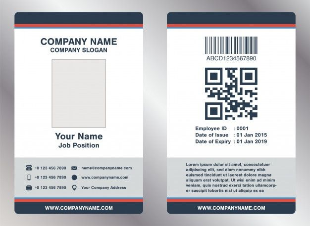 Simple Landscape Employee Id Card Template Vector In 2020 Id Card Template Employee Id Card Card Templates Free