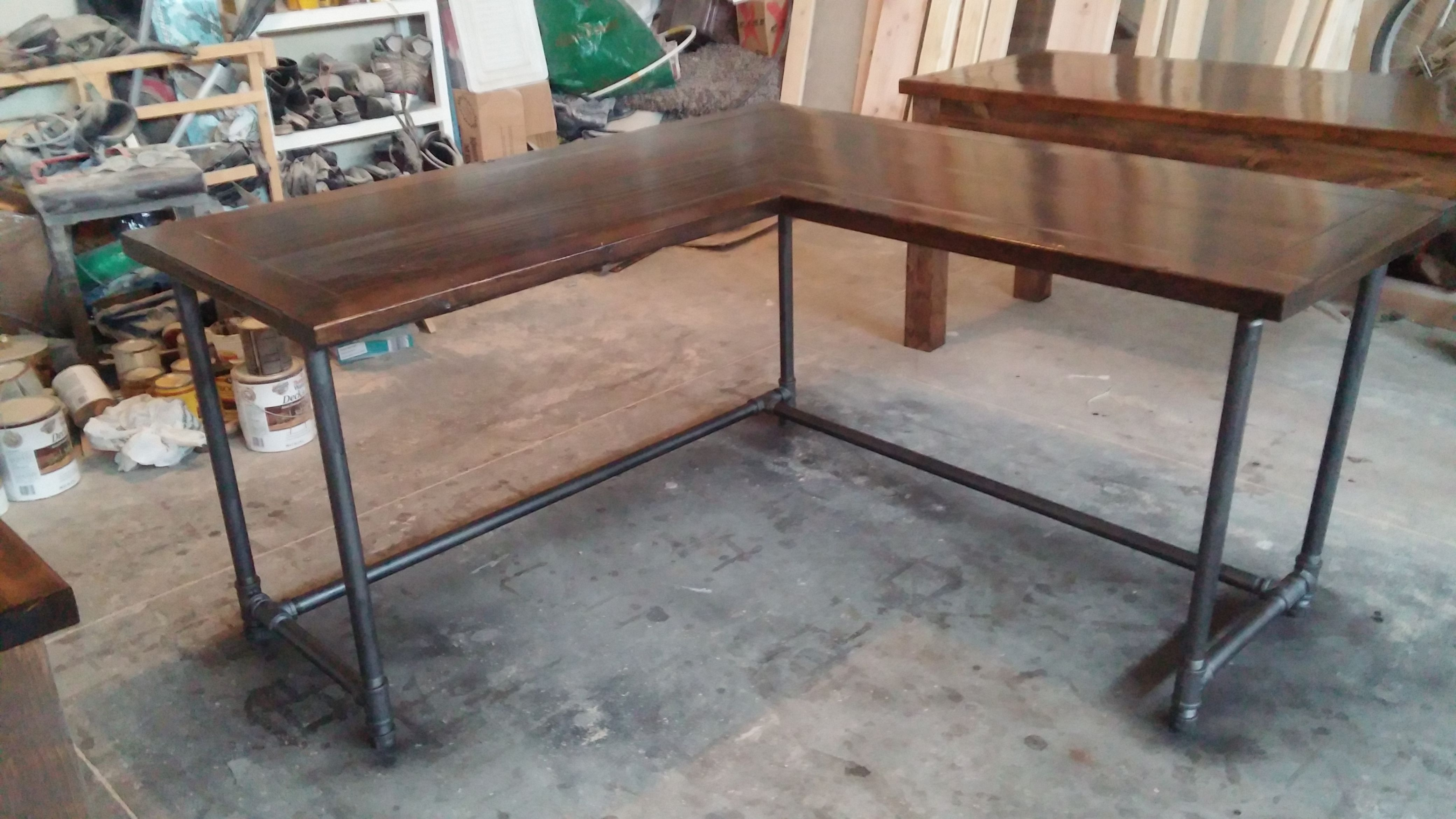 Rustic Americana Hardwood Executive Desk Home Office: 5x5 Rustic L Shaped Desk With Pipe Base