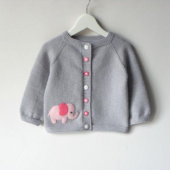 Photo of Pink elephant sweater silver grey baby girl jacket merino wool baby cardigan MAD…