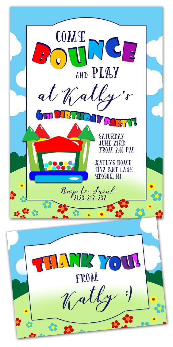 Bounce Party Invitation #bounce #bounceparty #partyinvitation #kids ...