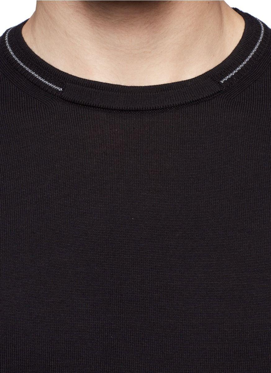 Armani Stripe Neck Cotton Sweater in Black for Men | Lyst