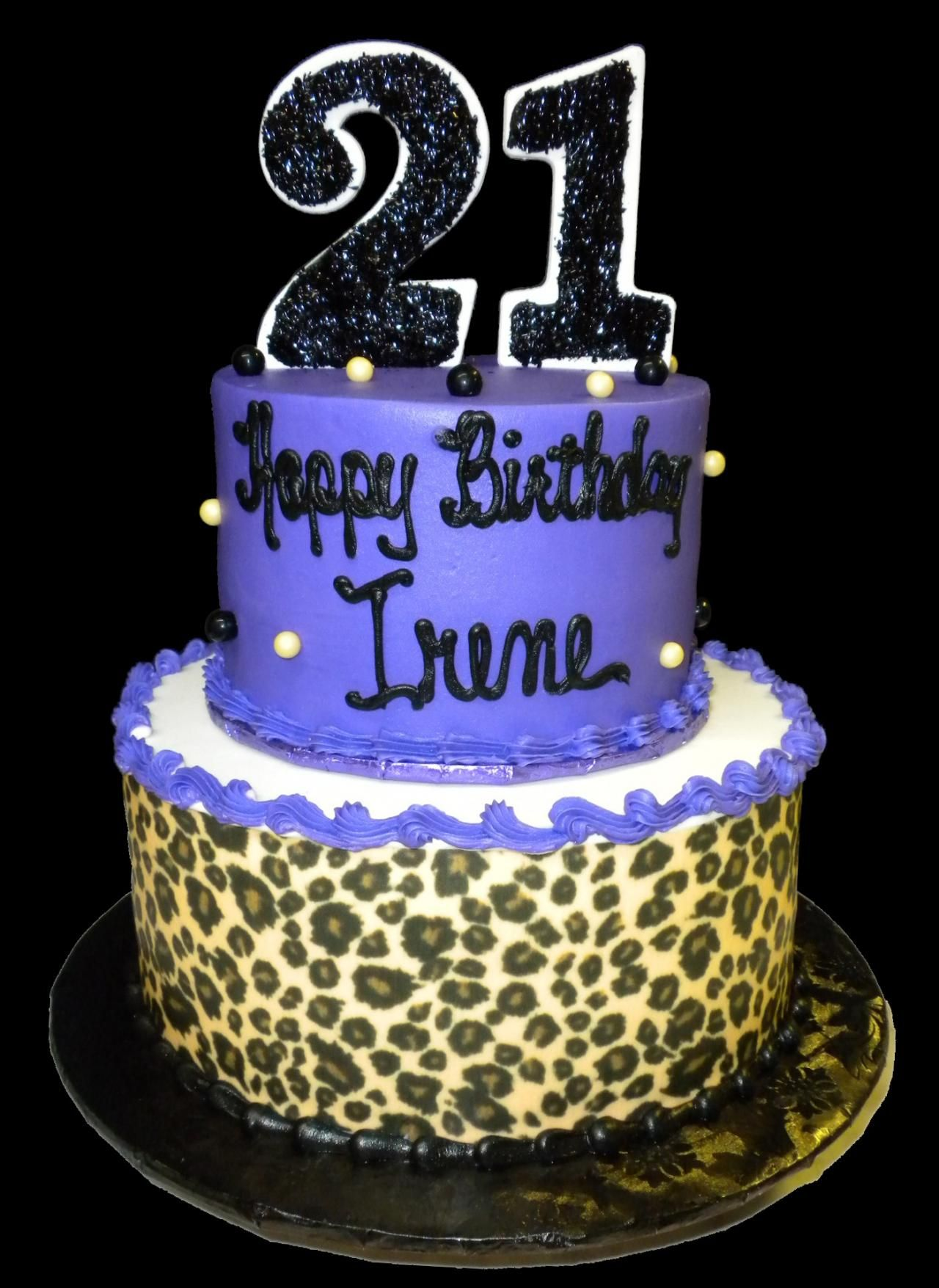 Purple Leopard 21st Birthday Cake Purple And White Buttercream Iced