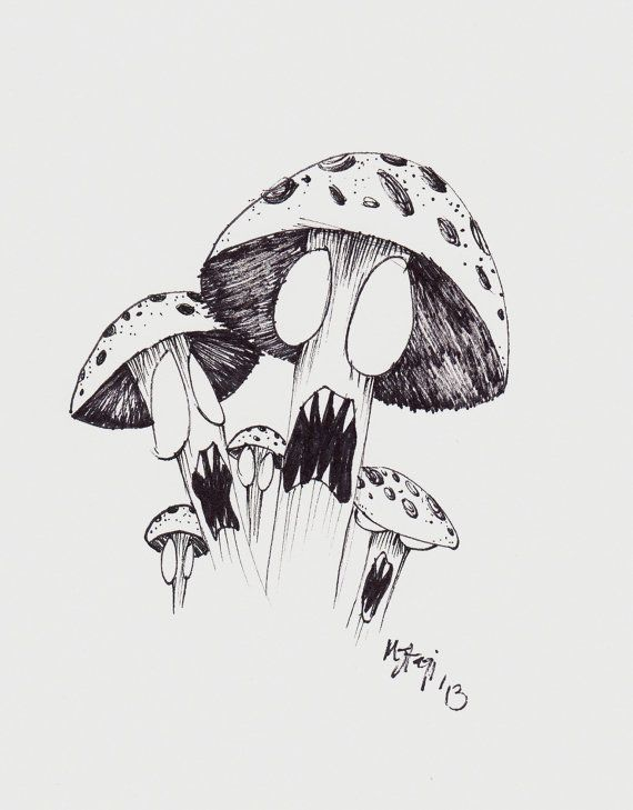 Mushroom drawing on pinterest drawings trippy and for Ink drawings easy