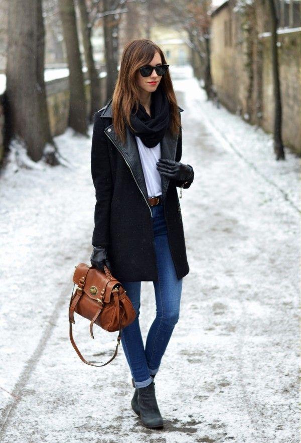 Women's Black Coat, White Crew-neck T-shirt, Blue Skinny Jeans ...