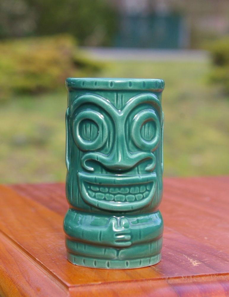 Green Tiki Espresso Mini Mug Shot Glass Bob Luau Party Tribal Hawaii Kahlua 2003