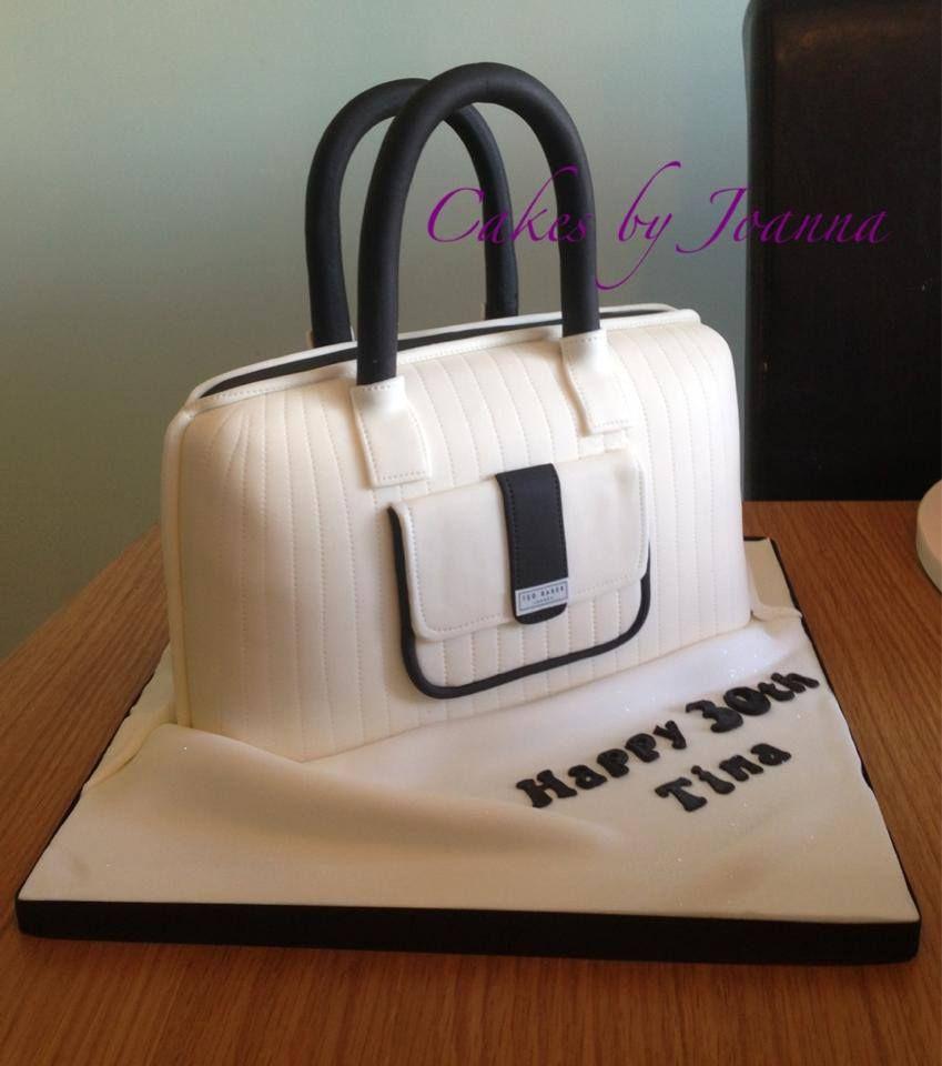 Cream and black Ted Baker style handbag cake | Handbag Cakes - 3D ...