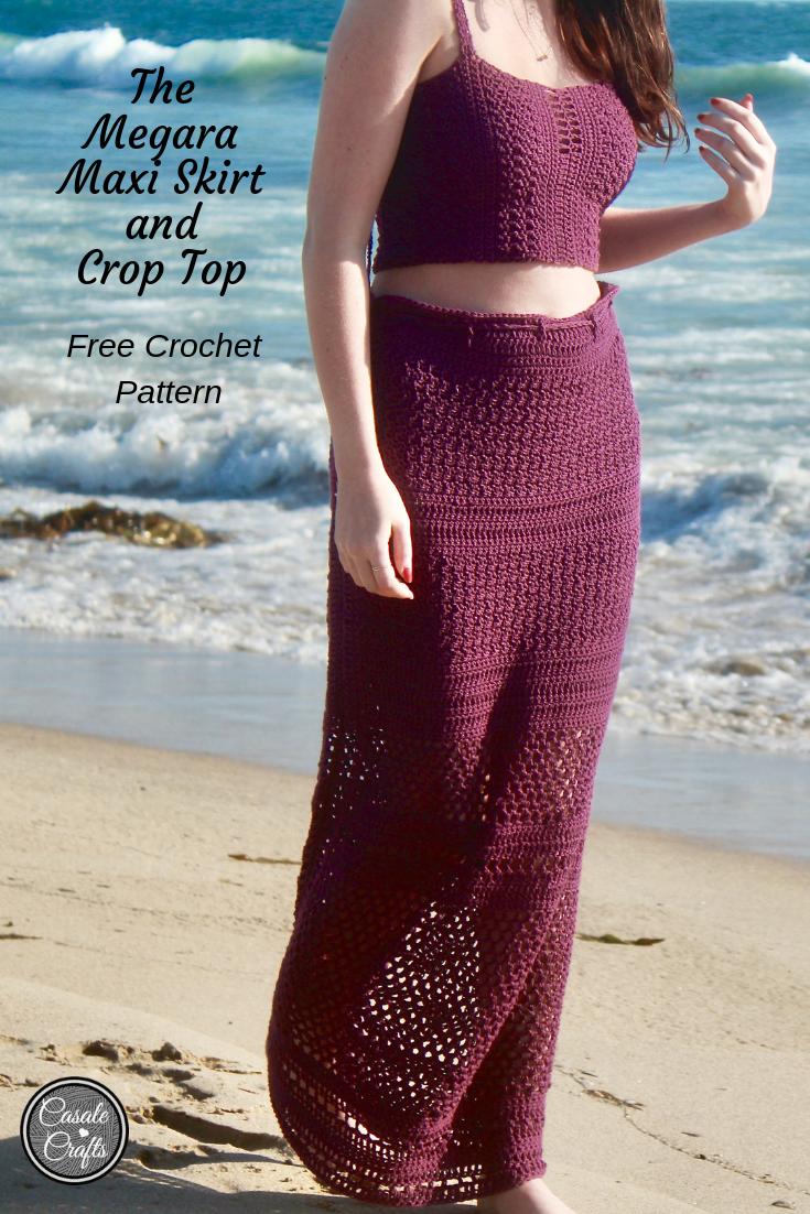 The Megara Maxi Skirt and Crop Top Free Crochet Pattern