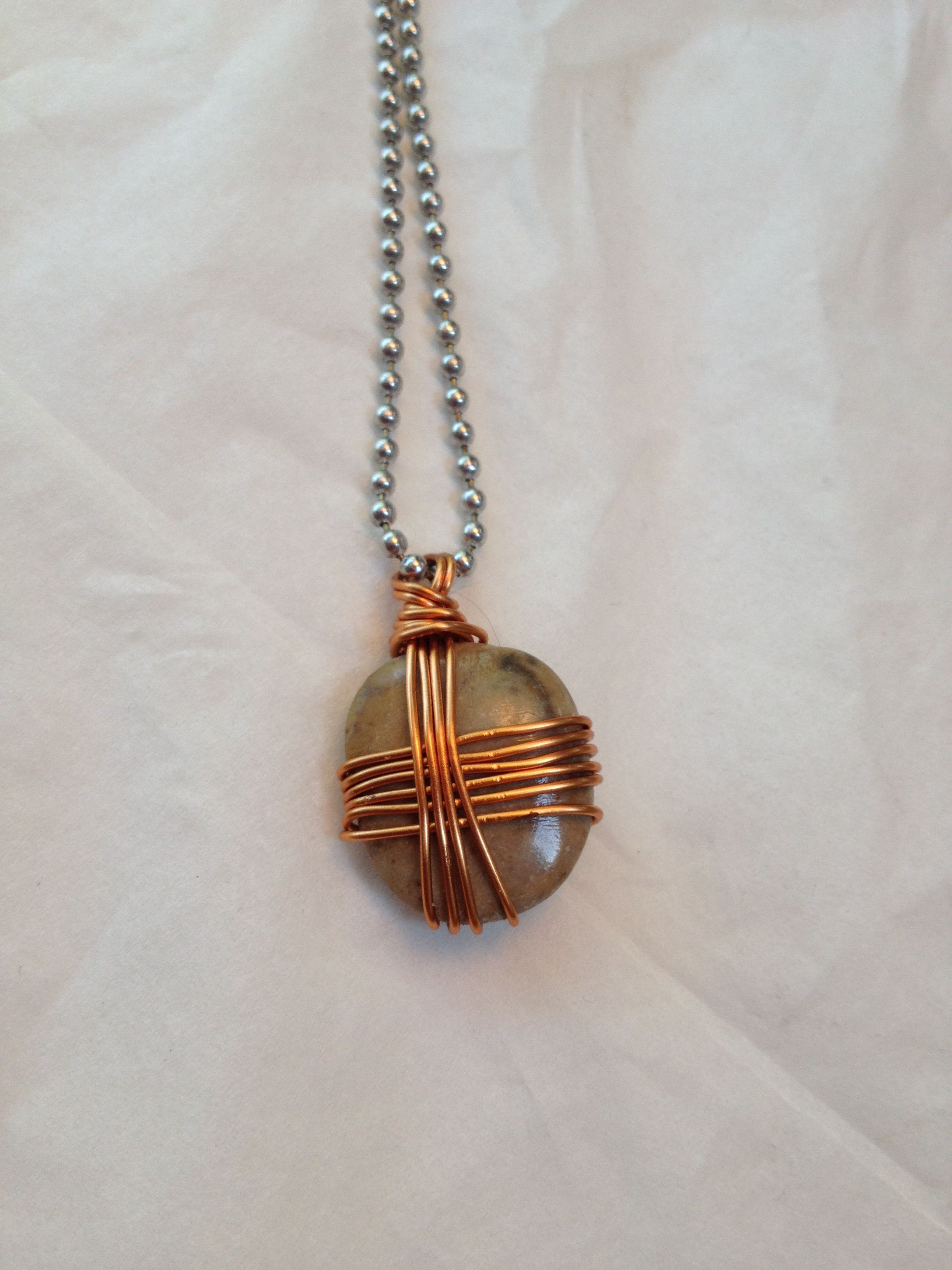 Rock and copper wire from old TV | repurposed jewelry by jess ...