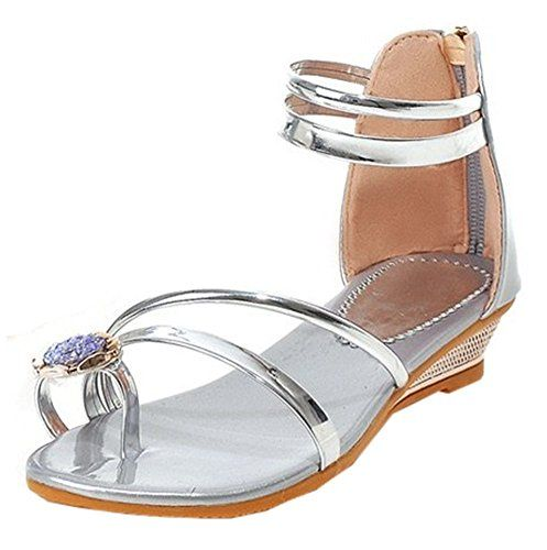 96e9b8be042 Easemax Womens Stylish Rhinestones Toe Ring Ankle Straps Zip Up Low Wedge  Heel Sandals Silver 65 BM US     Check this awesome product by going to the  link ...