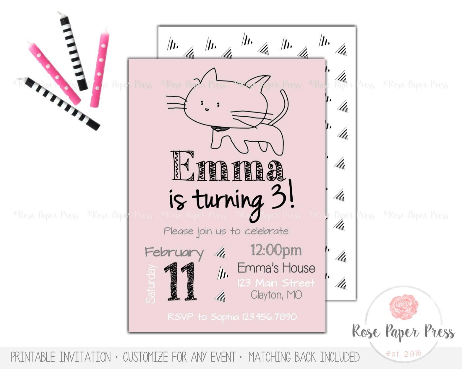 Modern Cat Birthday Invitation Kitten Party