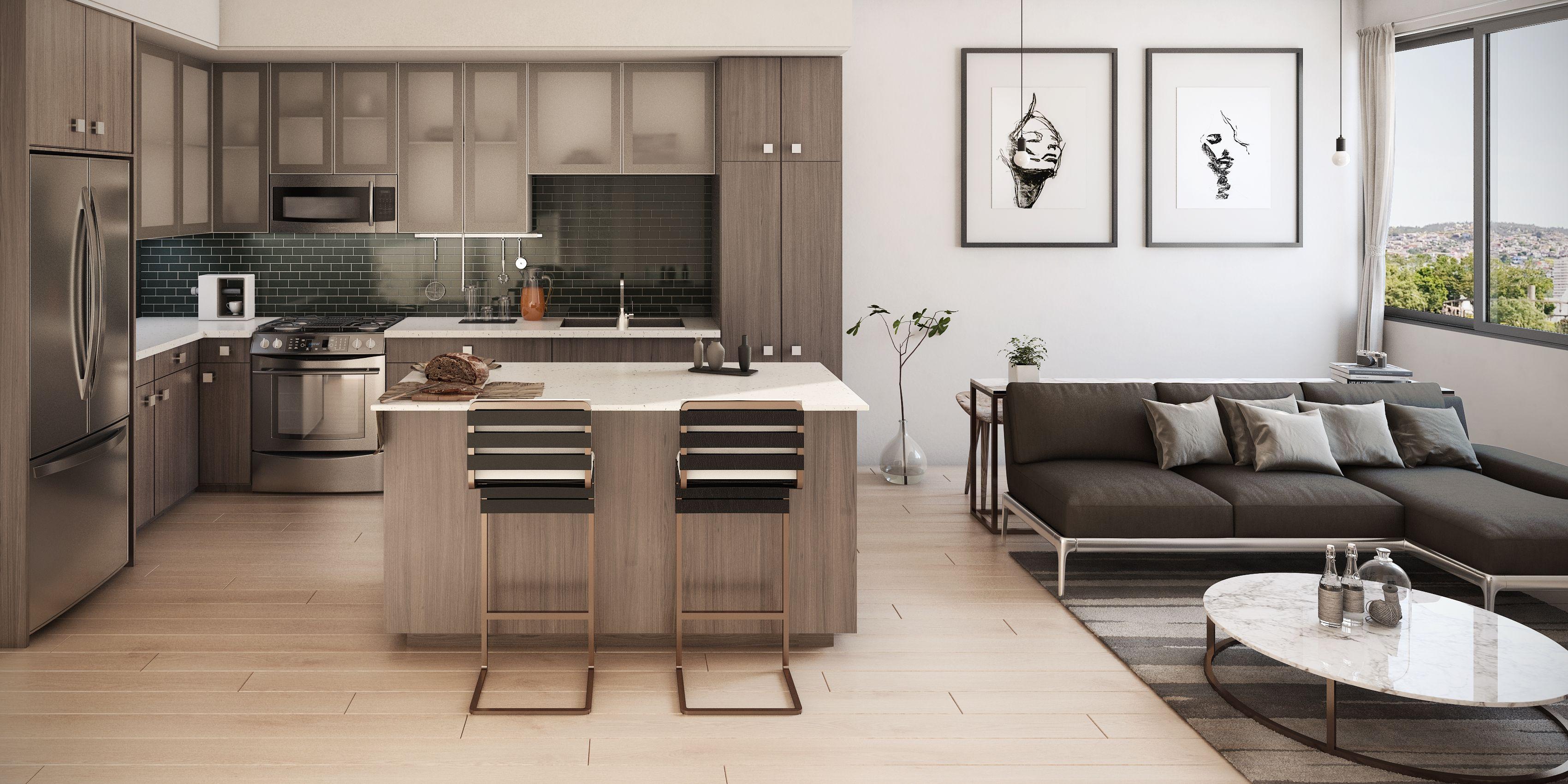 Kitchens At L Seven Apartments In San Francisco Ca Boast Quartz Countertops With Full Height