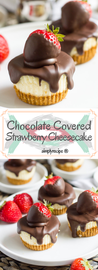 сhосоlаtе соvеrеd ѕtrаwbеrrу mini cheesecakes | Simply Recipes #cheesecakes