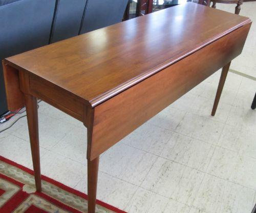 kincaid meeting house cherry shaker style drop leaf sofa console table
