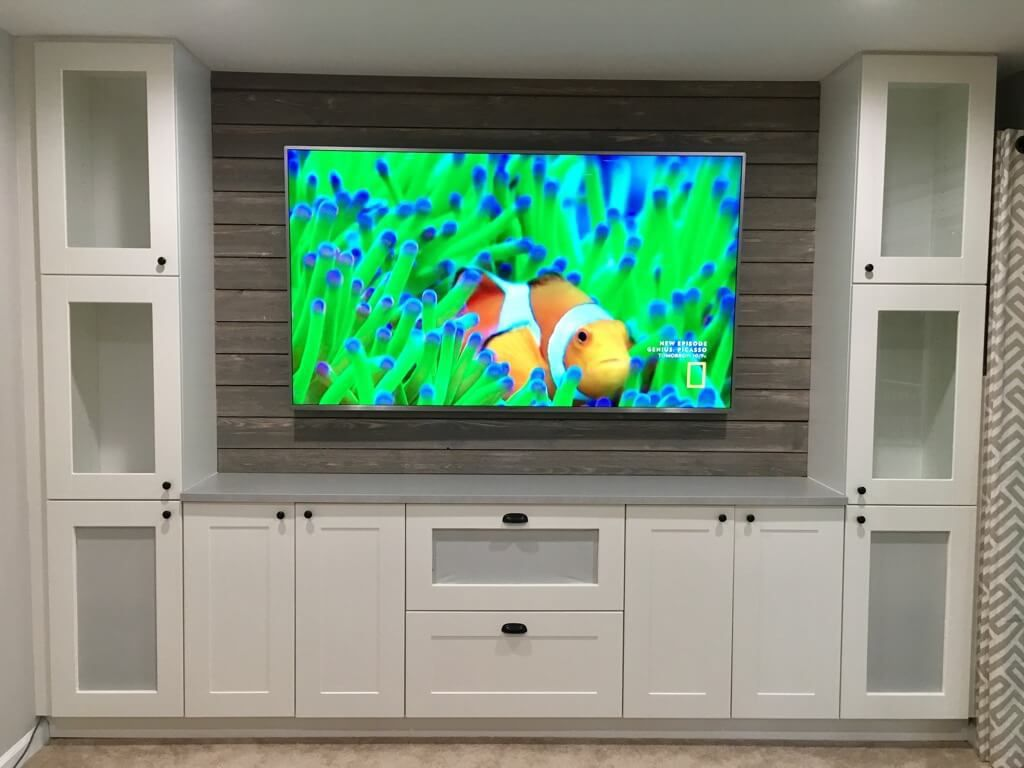 Shiplap Entertainment Center From Ikea Kitchen Cabinets Ikea Kitchen Cabinets Ikea Kitchen Ikea Cabinets