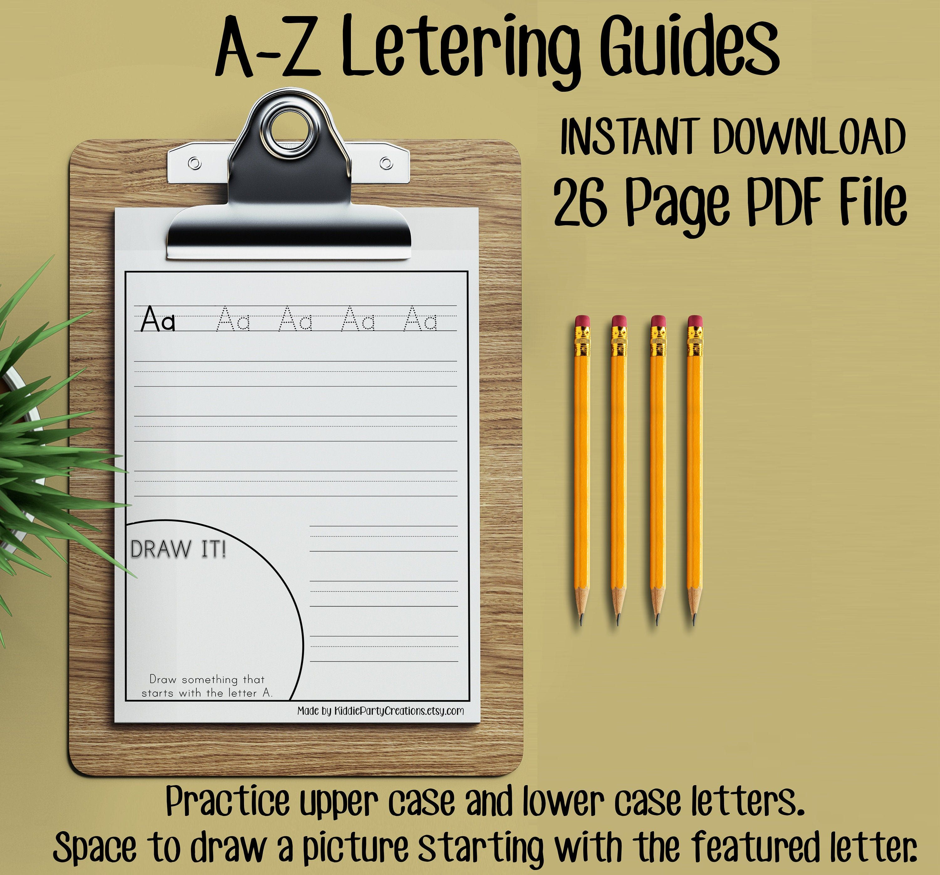 Handwriting Lettering Guides Instant Download Homeschool