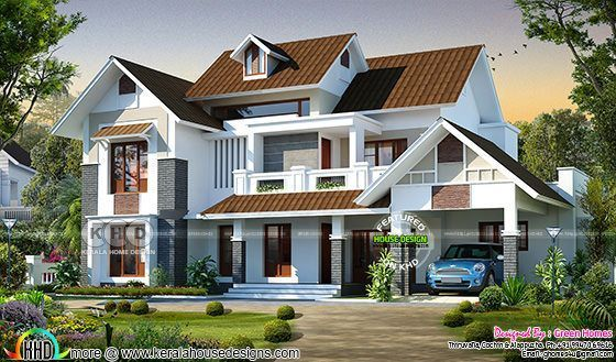Beautiful 4 Bedroom Sloping Roof 2800 Sq-ft Home In 2019