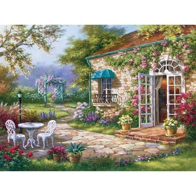 Photo of Villa Scenery DIY 5D Diamond Painting Full Round Resin Mosaic Landscape Diamond Embroidery Picture Rhinestone Home Decor Gift Diamond Painting Cross Stitch  – C18856 / Full Round 15cmX20cm