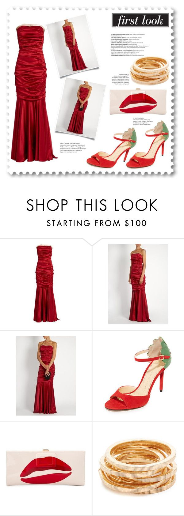 """""""Strapless Silk-Blend Satin Evening Gown"""" by bonnielindsay ❤ liked on Polyvore featuring Dolce&Gabbana, Charlotte Olympia, Roger Vivier, Balmain, Kenneth Jay Lane, red, dolceandgabbana, gown, evening and strapless"""