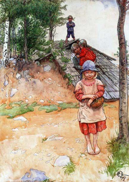 At The Cellar-(Carl Larsson,Swedish Painter 1853-1919).