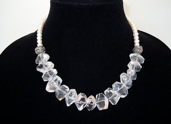 Chunky Quartz Crystal and Freshwater Pearls Beaded by DebbieRenee, $66.00 handmade jewelry