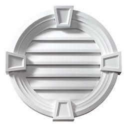 24 Inch W X 24 Inch H X 3 5 8 Inch P Round Louver W Decorative Trim Keystones Functional Gable Vents Louver Vent Decorative Trim