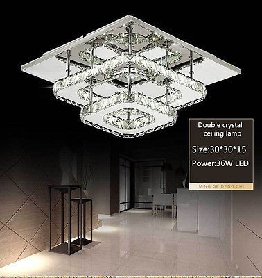 Large Modern Silver Chrome Metal Crystal Ceiling Light Fitting Pendant Chandelie