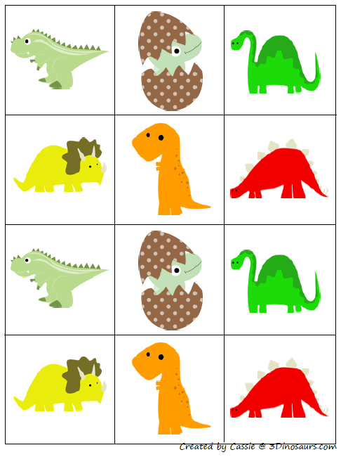 photograph regarding Dinosaur Matching Game Printable known as Element of the Dinosaur printables pack by means of 3 Dinosaurs, this is