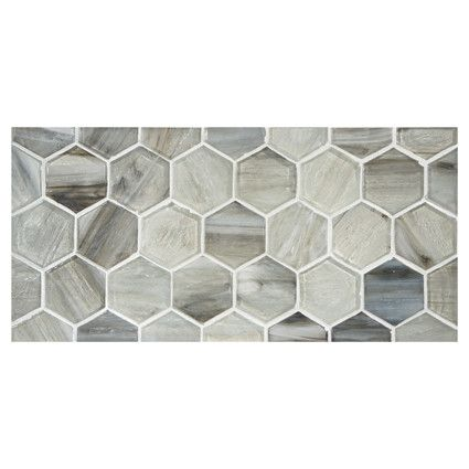 Complete Tile Collection Uze Gl Mosaic 2 Inch Hexagon Sake In Perla Finish Mi 038 G2 276 003 Tiles Hexagontiles Interiordesignideas