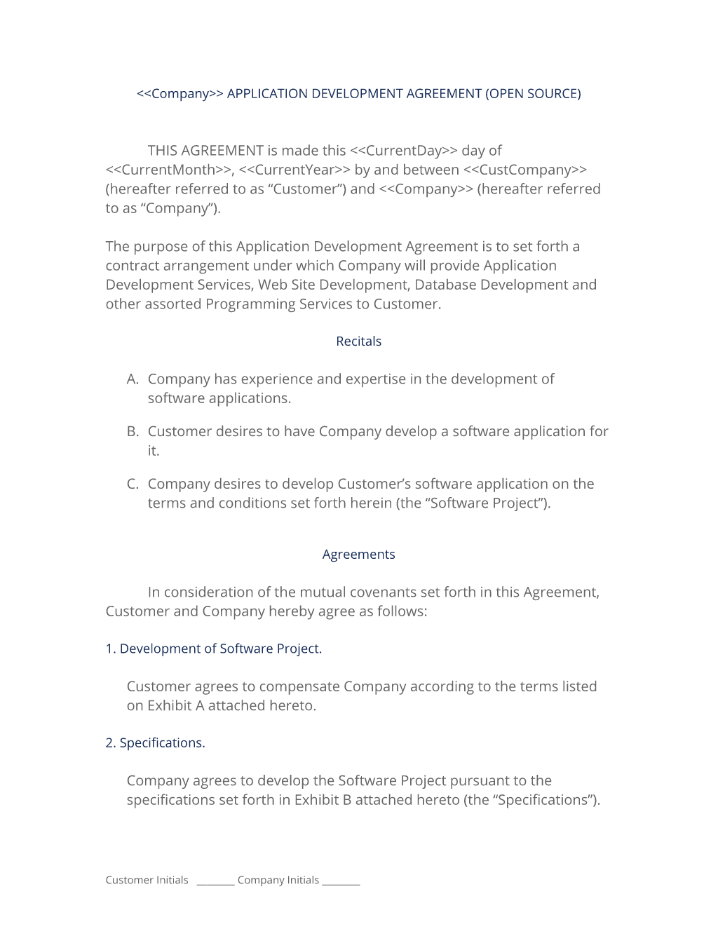 Open Source Application Development Agreement | Contract ...