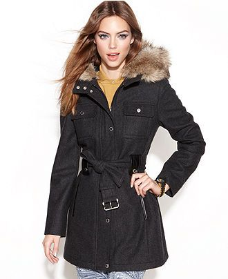 Laundry By Design Coat Wool Blend Hooded Faux Fur Trim Belted Juniors Coats Macy S Hooded Faux Belted Coat Coat