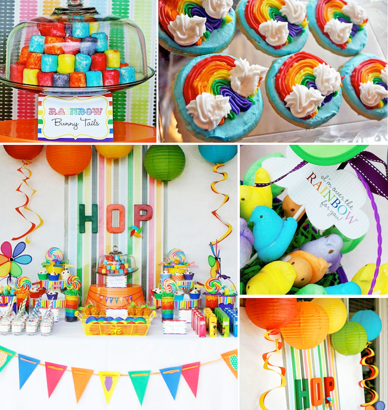 Rainbow Easter Hop Girl Boy Colorful Party Planning Ideas Easter