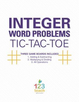 Integer Word Problems Review Activity - Partner Tic Tac Toe