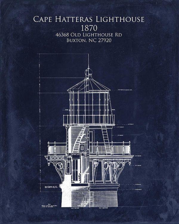 Cape Hatteras Lighthouse Blueprint Art Print - Lighthouse Tower - new old blueprint art