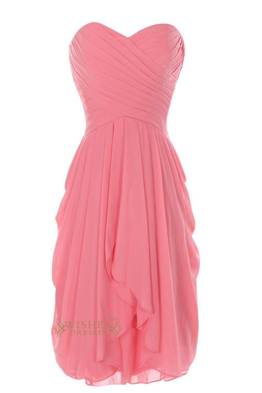 Coral chiffon slight pickup side knee length bridesmaid dress