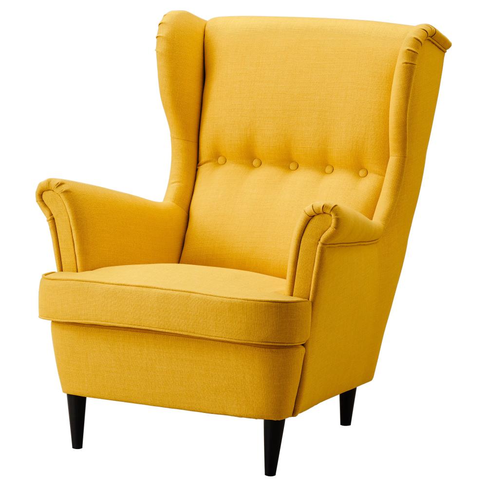Strandmon Wing Chair Skiftebo Yellow Ikea In 2020 Wing Chair Ikea Chair Yellow Chair