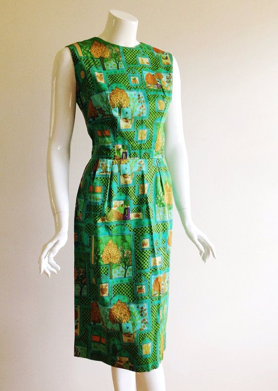 Vintage Tina Leser Resort Print Sheath Dress by CoutureArabesque