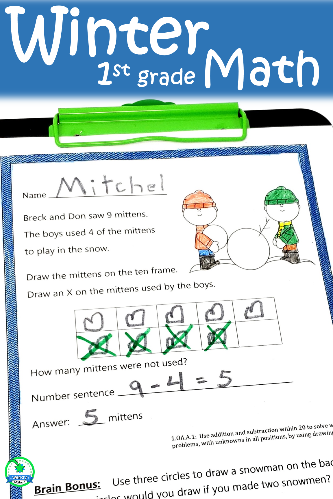 Winter 1st Grade Math Worksheets Word Problems