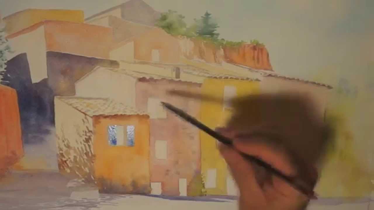 Demo Aquarelle Facades A Roussillon Watercolor Tutorial