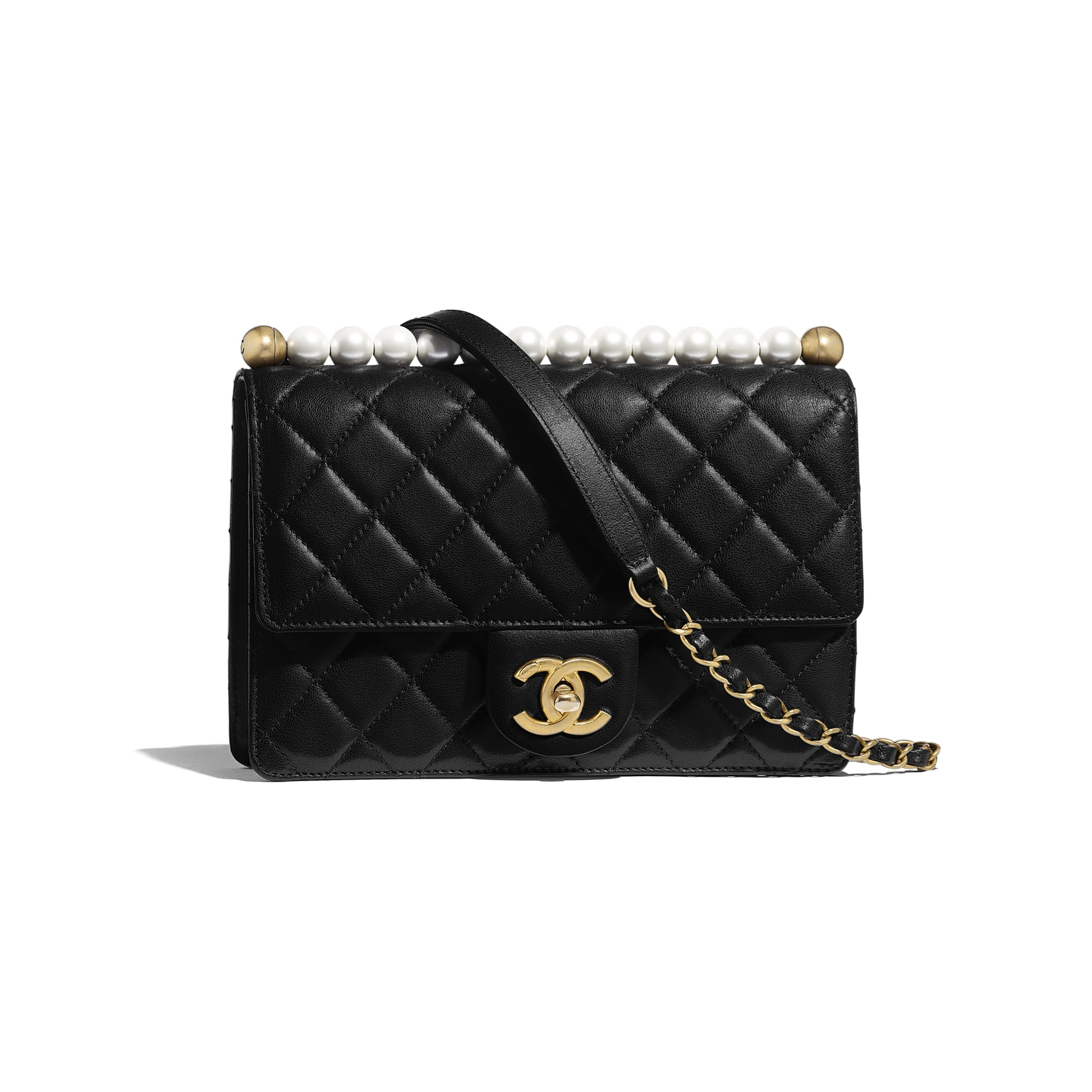 cbdae1656 Chanel - SS2019 | Black lambskin, imitation pearls & gold-tone metal flap  bag ($4,300)