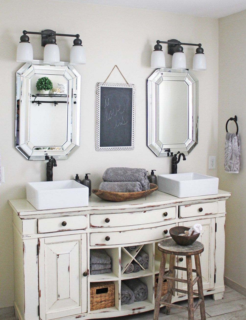 Master Bathroom Vanity From An Old Buffet | Shabby chic bathrooms ...