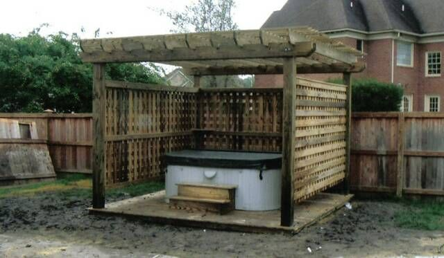 Hot Tub Pergola With Privacy Screen And