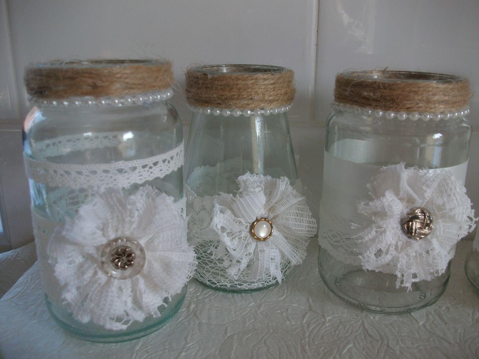 Shabby Chic Wedding Decorated Glass Jars Vases Tea Light Flowers x 10   eBay