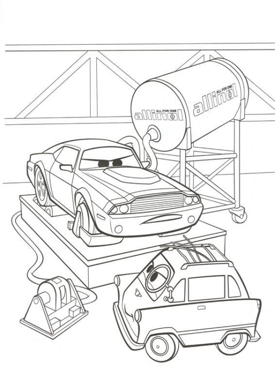 Kleurplaten Van Cars 2.Kleurplaat Cars 2 Rod Torque Redline En Zundapp Voor Jimmy